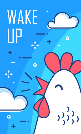 Wake up poster with clouds and cock on blue background. Thin line flat design. Vector.