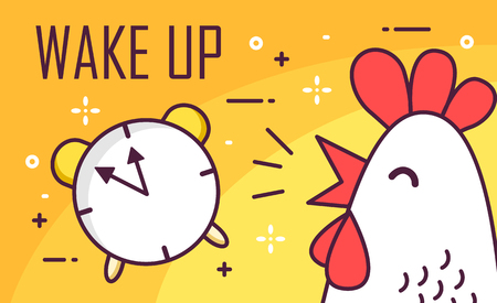 Wake up poster with alarm and rooster. Thin line flat design. Vector good morning background.