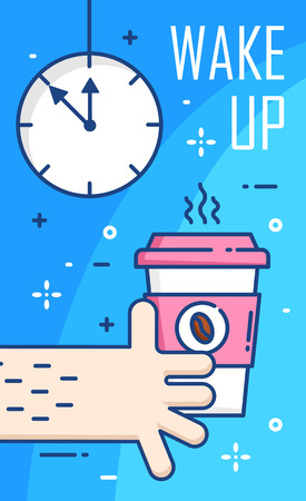 Wake up poster with clock, hand and cup of coffee on blue background. Thin line flat design. Vector banner.