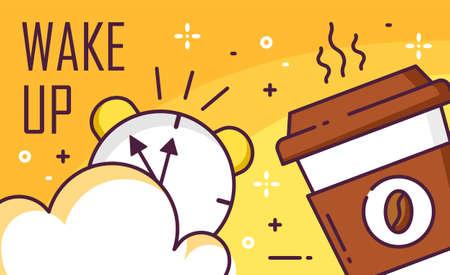 Wake up poster met cloud, wekker en kopje koffie op gele achtergrond. Dunne lijn plat ontwerp. Vectorbanner. Vector Illustratie