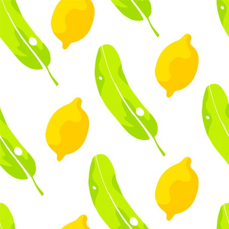 Color pattern with palm leaves and lemons on white background. Ornament for textile and wrapping. Vector. Ilustração