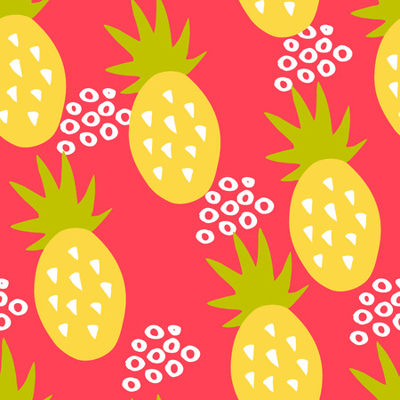 Cute pattern with pineapple and abstract circles on red background. Ornament for textile and wrapping. Vector. Illustration