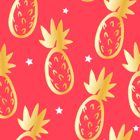 Cute pattern with golden pineapples and stars on red background. Ornament for textile and wrapping. Vector.