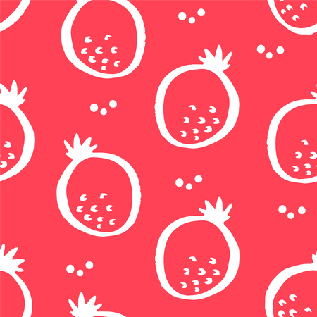 Fruit pattern with pomegranate on red background. Ornament for textile and wrapping. Vector.