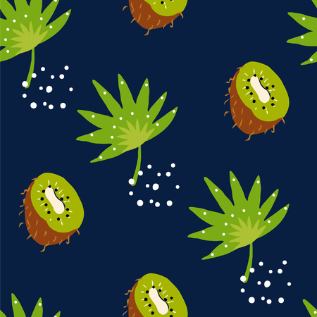 Tropical seamless pattern with palm leaves and kiwi on dark background. Ornament for textile and wrapping. Vector. Ilustração