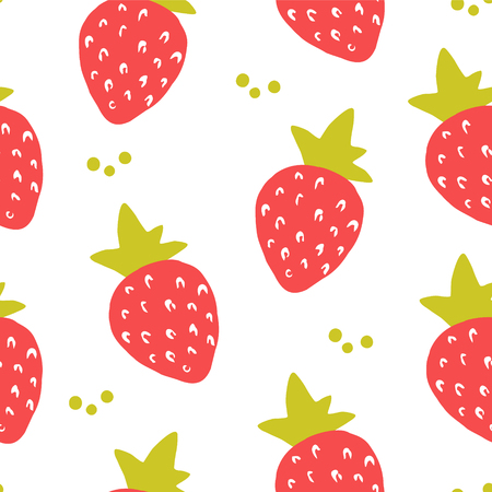 Fruit pattern with strawberry on white background. Ornament for textile and wrapping. Vector.