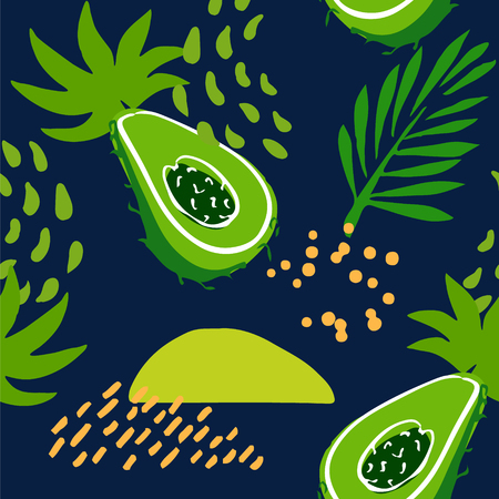 Summer pattern with abstract avocado,tropical plants and palm branches on dark background. Ornament for textile and wrapping. Vector.