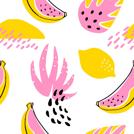Abstract pattern with banana, lemon and tropical plants on white background. Ornament for textile and wrapping. Vector.