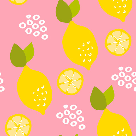 Fruit pattern with lemons and lemon slices on pink background. Ornament for textile and wrapping. Vector. Illustration