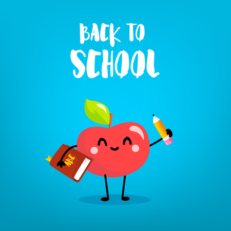 Cute cartoon apple with pencil and book. Back to school card. Vector.