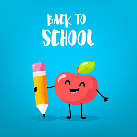 Happy cartoon apple with big pencil. Back to school card. Vector. Ilustração