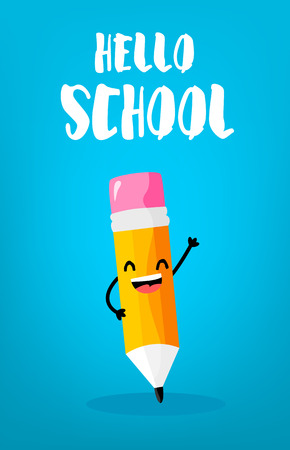 Back to school card with happy cartoon pencil. Vector.