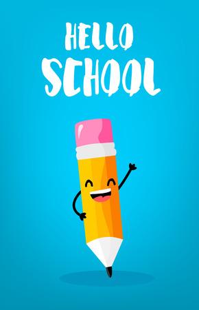 Back to school card with happy cartoon pencil. Vector.