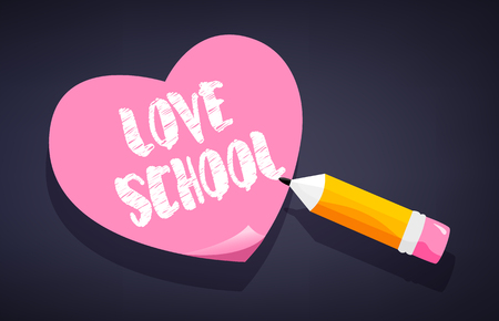 Love school card with sticker and pencil on blackboard. Vector.
