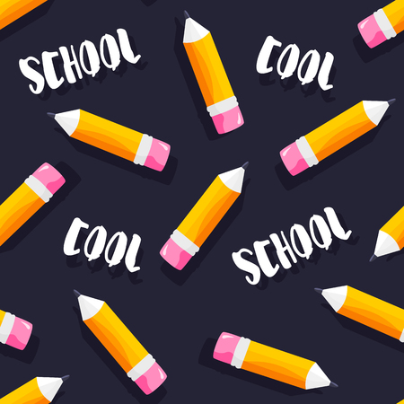 School pattern with text and pencils on blackboard. Vector. Ilustração