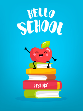 Cute cartoon apple sitting on stack of books. Back to school card. Vector.