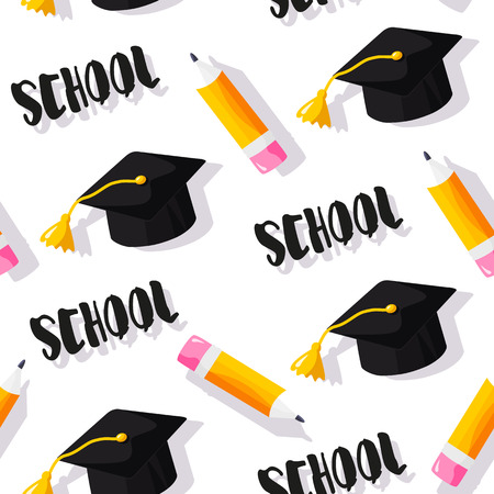 School pattern with square academic cap, text and pencils on white background. Vector.
