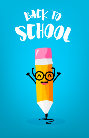 Back to school card with cute cartoon pencil in glasses. Vector.