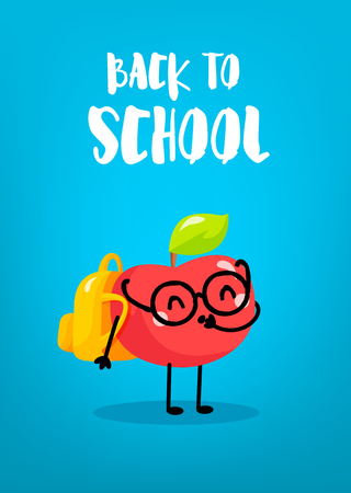 Ð¡artoon apple schoolboy with backpack on blue background. Back to school card. Vector. Ilustração