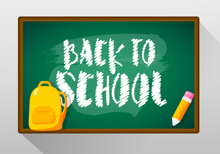 Back to school card with blackboard, backpack and pencil. Vector banner.