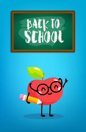 Happy cartoon apple with pencil and blackboard. Back to school card. Vector.
