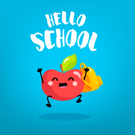 Happy cartoon apple schoolboy with backpack on blue background. Back to school card. Vector.