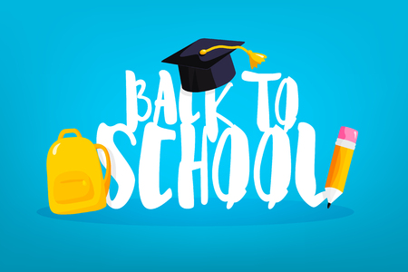 Back to school card with square academic cap, backpack and pencil. Vector banner. Illustration