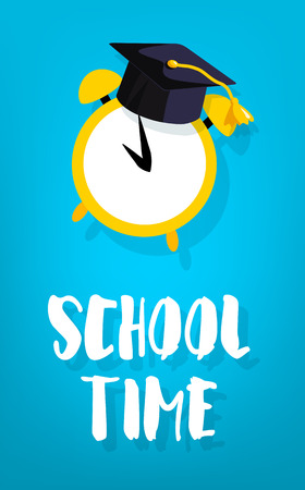 School time card with square academic cap and alarm. Vector banner. Ilustração