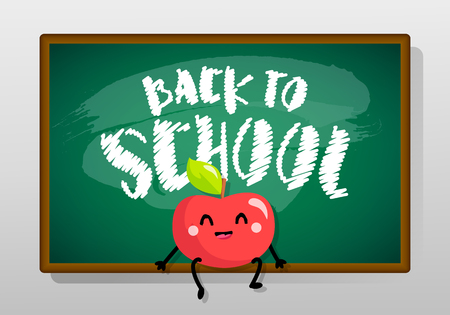 Back to school card with blackboard and cartoon apple. Vector banner. Illustration