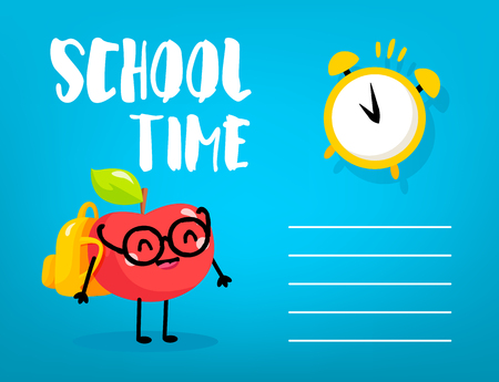 Сartoon apple schoolboy with backpack and alarm clock on blue background. Back to school card. Vector.