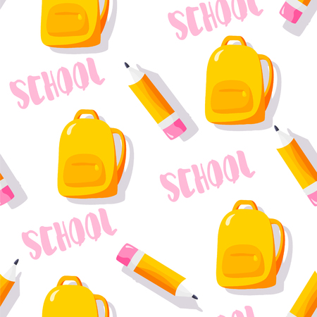 School pattern with backpack, text and pencils on white background. Vector. Ilustração