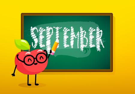 Autumn card with blackboard and cartoon apple. Vector banner. Illustration
