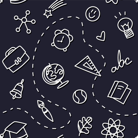 Seamless pattern with school icons on black background. Thin line flat design. Vector.