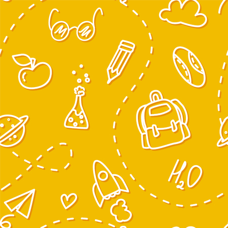 School seamless pattern with contour icons on yellow background. Thin line flat design. Vector.