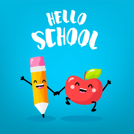 Happy cartoon apple and cartoon pencil on blue background. Hello school card. Vector.