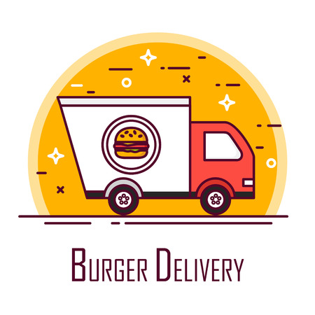 Burger delivery poster with truck. Thin line flat design. Vector icon.