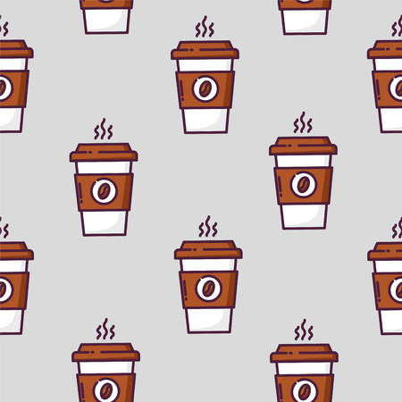 Seamless pattern with cup of coffee on gray background. Thin line flat design. Vector. Ilustração