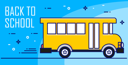 Back to school card with yellow bus on blue background. Thin line flat design. Vector banner. Ilustração