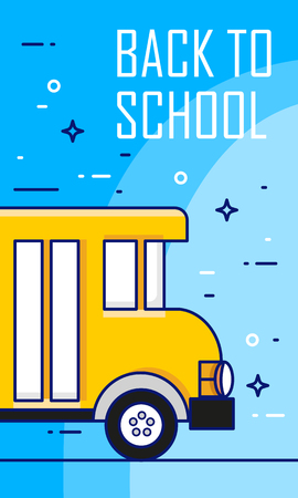 Back to school poster with bus on blue background. Thin line flat design card. Vector.