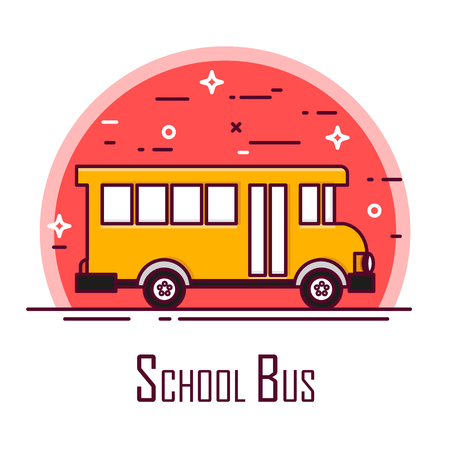 School bus icon in red circle. Thin line flat design. Vector. Ilustração