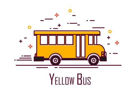 Yellow school bus on white background. Thin line flat design. Vector icon. Illustration