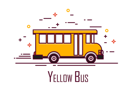 Yellow school bus on white background. Thin line flat design. Vector icon. Ilustração