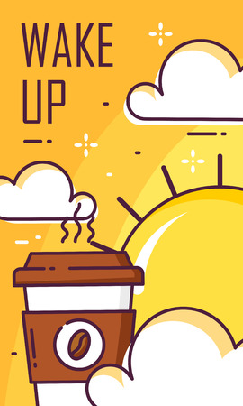 Wake up poster with cup of coffee, clouds and sun. Thin line flat design. Vector good morning banner. Ilustração