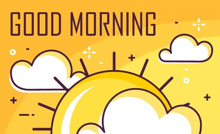 Cartel de buenos días con nubes y sol. Diseño plano de línea fina. Bandera de vector.