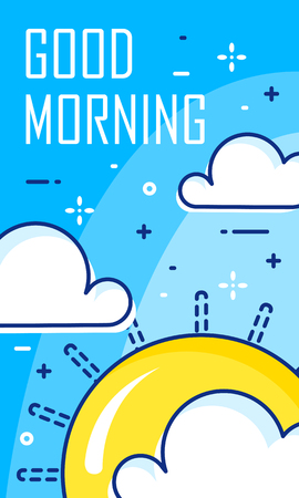 Good morning card with clouds and sun. Thin line flat design. Vector banner.