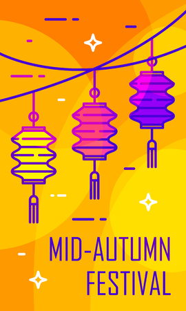 Mid-Autumn Festival card with color lanterns on orange background. Thin line flat design. Vector banner. Ilustração