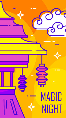Happy Mid-Autumn Festival card with temple, lantern and clouds on orange background. Thin line flat design. Vector banner. Ilustração