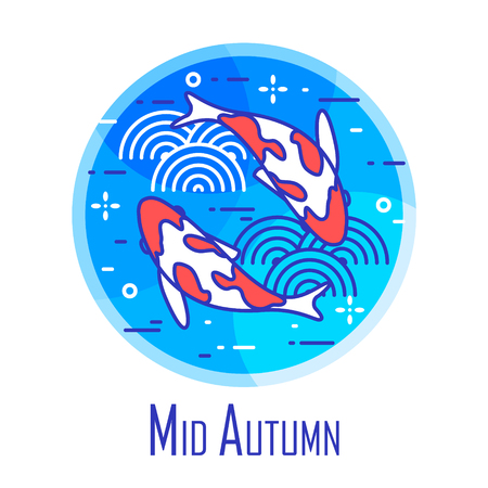 Mid-Autumn Festival icon with two fishes and waves in blue circle. Thin line flat design. Vector banner.