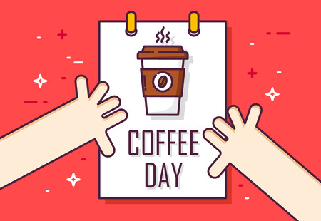 Coffee day poster with calendar and hands on red background. Thin line flat design. Vector card. Banco de Imagens - 116414423