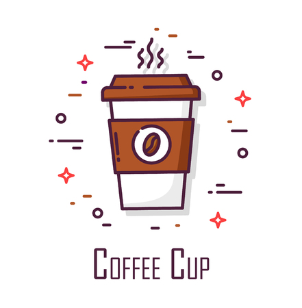 Icon with cup off coffee on white background. Thin line flat design. Vector banner.